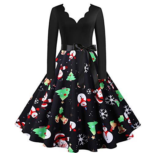 Women 2020 Christmas Dress Long Sleeve V Neck Xmas Musical Notes Print Vintage Flare Party Dress