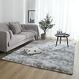 XYSQWZ Teppiche Für Wohnzimmer,Carpet Living Room,Shaggy Super Weicher Teppich Geeignet Als Schlafzimmerteppich Home Decor Kinderzimmer Teppiche Kindermatte Teppich Grau Weiss