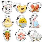 Olywee - Set di formine per biscotti pasquali a forma di farfalla, fiore, uova, pulcino, pecora, carota, coniglietto, forme, biscotti, 9 pezzi in acciaio inox per la cottura