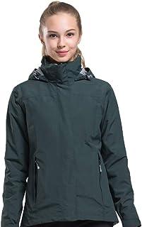 Hiking Jacket Waterproof Outdoor Windbreaker 2 Pieces Fleece Lining Coat VY9065 (Green Female,S)