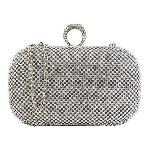 KICCOLY Damen Strass Abendtaschen Clutch Umhänge Tasche Handtasche, Clutch Tasche Elegant Handtasche mit Strass für Party Hochzeit (Silber)