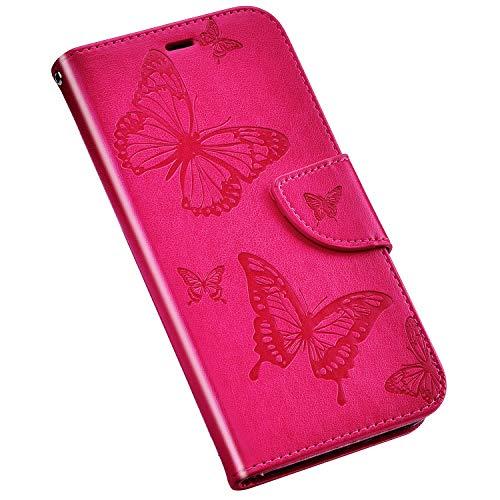 Jinghuash Kompatibel mit Huawei P30 Lite Hülle Schutzhülle Lederhülle Schmetterling Muster PU Leder Flip Case Brieftasche Klapphülle Tasche HandyHülle-Rose rot