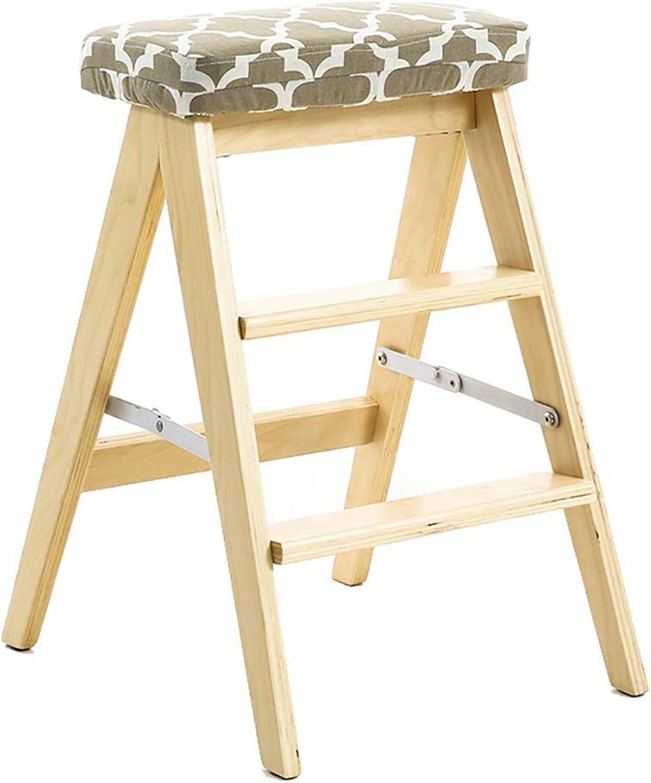 S&RL Ladder Stool Storage 3-Step Wooden Ladder Portable Ladder Foldable Ladder Kitchen Household Step Stool Chair