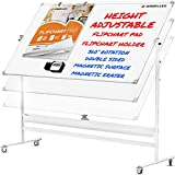 Mobile Whiteboard - 48x36 Large Height Adjust 360° Rolling Double Sided Dry Erase Board, Magnetic White Board on Wheels, Office Classroom Portable Easel with Stand, Flip Chart Holders and Pad | White