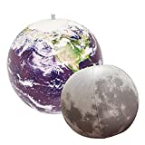 Jet Creations Inflatable Earth Globe and Moon 2pk, 16 inch, Science Space Astronomy Educational Toys for Kids, JC-EARTHMOON