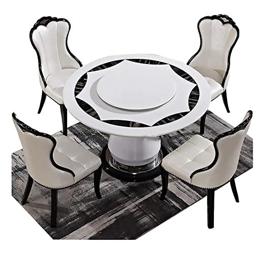 HHTD Mesa de Comedor,Mesa de Comedor de mármol y combinación de sillas con Mesa giratoria Redonda de Comedor 1 Mesa+4 sillas,12 0cm Tabla 7 0cm Placa giratoria (Size : 150CM Table 90CM Turntable)