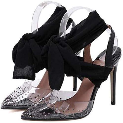 Heyaya Sandales de Mode pour Femmes, MesLes dames Unique Unique Chaussures 2019 Printemps Nouveau Pointu Strass écharpe Stilettos 40 Yards,b,37  chaud