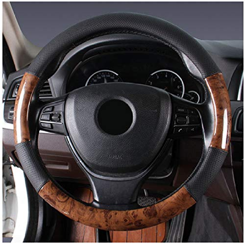 JNXZHQC Auto Holzlenkrad ist rutschfest und atmungsaktiv.Für die meisten Autos