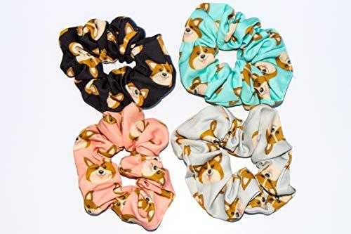 Corgi Dog Hair Scrunchies 4 Pack Cotton Elastic Hair Bands Scrunchy Hair Ties Ropes Scrunchie for Women or Girls Hair Accessories