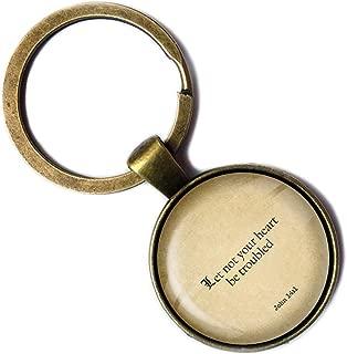 John 14:1 Let not your Heart be Troubled King James Version KJV Bible Bronze Keychain Keyring