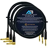 Audioblast - 3 Units - 6 Foot - HQ-1 - Ultra Flexible - Dual Shielded (100%) - Guitar Instrument Effects Pedal Patch Cable w/Eminence Straight & Angled Gold ¼ inch (6.35mm) TS Plugs & Double Boots