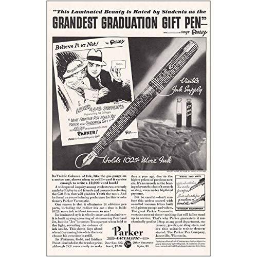 1934 Parker Vacumatic Pen: Grandest Graduation, Believe It, Parker Pen Company Print Ad