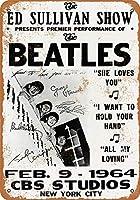 なまけ者雑貨屋 Beatles on the Ed Sullivan Show ブリキ看板 壁飾り レトロなデザインボード ポストカード サインプレート 【20×30cm】