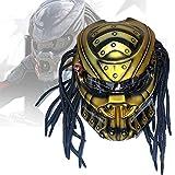 WZFANJIJ Casco Moto Integrale Predator Casco Moto, Maschera Casco personalità Cool per Moto, Scooter O Feste in Discoteca E Cosplay Prop,Gold2-L