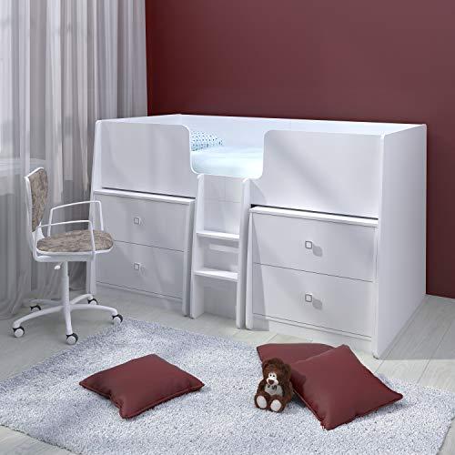 Polini Kids Kinder Etagenbett Hochbett mit zwei Kommoden in weiß
