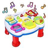 ARANEE Lernspaß Spieltisch, Lernspielzeug mit Lichtern und Liedern, Musikwürfel, Baby Spielzeug ab 6 Monaten,Activity Center Baby Weihnachten