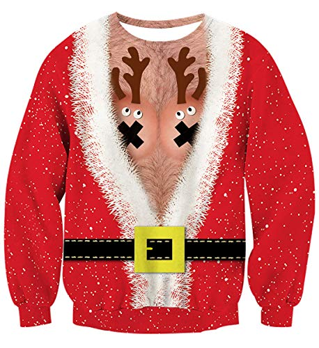 Couples Ugly Christmas Sweater Jumpers Red Fake 2 Piece Chest Chair Reindeer Santa Mens Suit with Belt Long Sleeve Round Neck Xmas Pullover Sweatshirts for Holiday Party Festival
