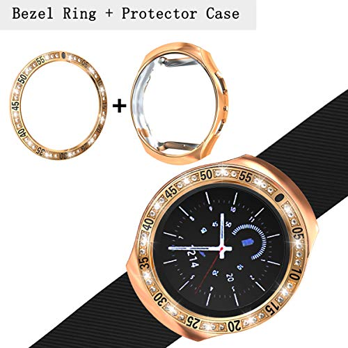 [2 Pack] JZK Samsung Gear S2 SM-R730 Bezel Ring Styling,Adhesive Cover Anti Scratch & Collision Protector Bezel Loop+Protector Case for Gear S2 SM-R730 Watch Accessories