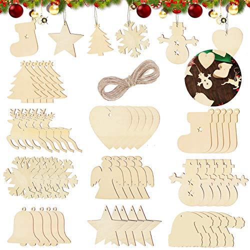 Sunshine smile 100 Stück Kleine Anhänger Holz Weihnachten,Anhänger Dekoration Holz,Weihnachtsbaum Deko Holz,weihnachtsdeko basteln,Holz Weihnachtsdeko Anhänger,Ornamenten für Weihnachtsbaum