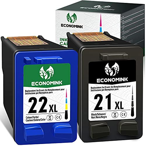 EconomInk Cartucho de tinta negro y tricolor 21XL 22XL 21 22 XL para HP Deskjet F380 PSC 1410 Officejet 5610 F4180 F300 F2180 F2280 F370 F375 D1460 3940 D15 60 43 15 F2224