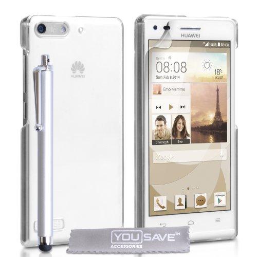 Yousave Accessories Kompatibel Für Huawei Ascend G6 Hülle (3G Modell Nur) Kristall Klare Hart Schutzhülle Mit Griffel Stift