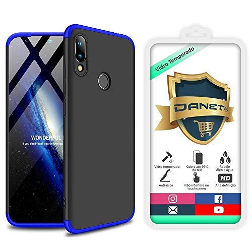 """Kit Capa Capinha Anti Impacto 360 Para Xiaomi Redmi Note 7 E Note 7 Pro Tela 6.3"""" - Case Acrílica Fosca E Acabamento Macio Com Película De Vidro Temperado - Danet (Preto com azul)"""