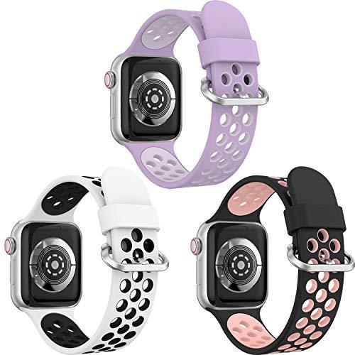 Supore Pack 3 iWatch Correas Compatible para Apple Watch Correa 44mm 42mm 40mm 38mm, Deportivas de Suave Silicona Correas de Repuesto Compatible con Apple Watch SE/iWatch Series 6 5 4 3 2 1
