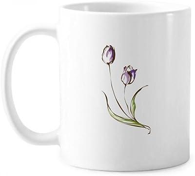 紫色の花の植物チューリップ緑 ハンドルの350 mlギフトと古典的なマグカップ白陶器セラミックカップ