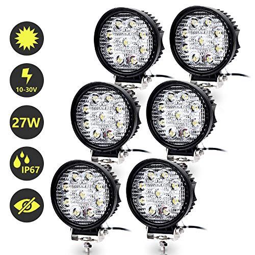 Hshelekte 6x 27W LED Arbeitsscheinwerfer 12V Scheinwerfer Traktor Rückfahrscheinwerfer 24V LED Strahler für Offroad, KFZ, SUV, LKW, Auto Zusatzscheinwerfer IP67 Wasserdicht, Rund