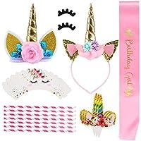 GWHOLE 41 Piezas Unicornio Tema Decoración de Fiesta Incluido Decoraciones de Pasteles, Diadema de Unicornio Flores y Faja de Satén para Cumpleaño Niñas Bebé