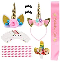 GWHOLE ユニコーン誕生日パーティー装飾セット カップケーキトッパー セットBIRTHDAY GIRL40pcs