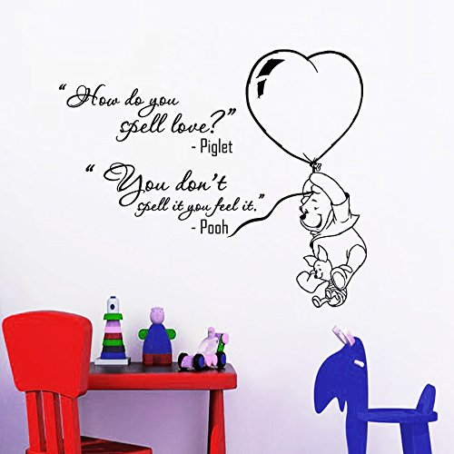Wall Decals Quotes Winnie The Pooh Piglet How Do You Spell Love Quote Vinyl Sticker Nursery Room Bedroom Decal Baby Boy Girl Home Decor Art Murals DA3682