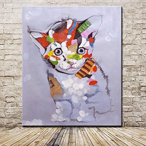 Frameloze pop-art poster muur foto van kat dier olie op canvas voor huisdecoratie van woonkamer kinderkamer <> 60x90cm