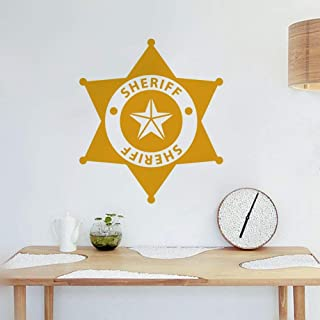 slepat Peel and Stick Removable Wall Stickers Sheriff Art Font Design Decorative Stickers for Police Station Boys Room Play Room