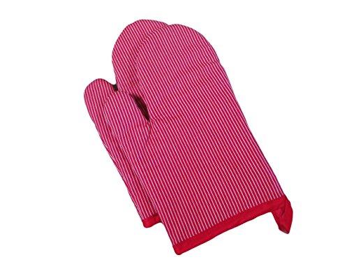Textiles Plus Striped Oven Mitt, Set of 2, Red