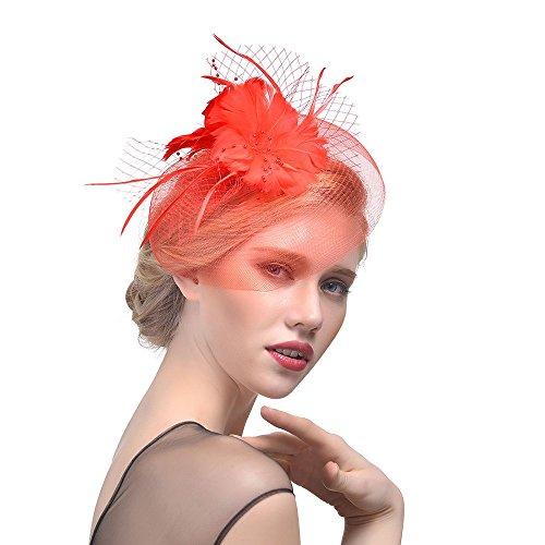 Dorical Federschmuck Damen Hochzeitshut, Blumen-Fascinator, festlicher Haarschmuck - Elfenbeinfarben, Haarreifen, Federschmuck, Haarband, Hochzeitsschmuck