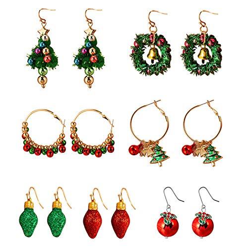 Weihnachten baumeln Ohrringe Set, Weihnachten Jingle Bell Granatapfel Laterne farbigen Kreis Kiefer Weihnachtsbaum Schmuck Drop Dangle Haken Ohrringe Geschenk für Frauen Mädchen