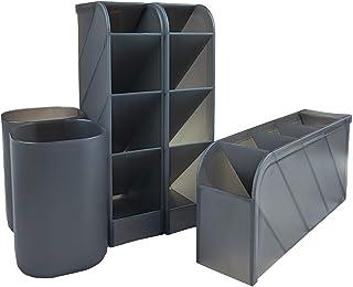 NBEST 5-piece Desk Organiser/Pen Holder/Multifunctional Organizer/home office art supplies storage box(Black)