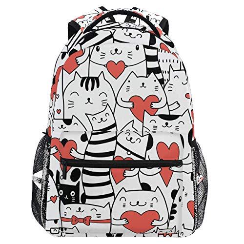Mochilas de corazón con diseño de gatos y gatitos, bolsa de libro, casual, extra duradera, impermeable, ligera, para viajes, deportes, día de transporte, para hombres y mujeres