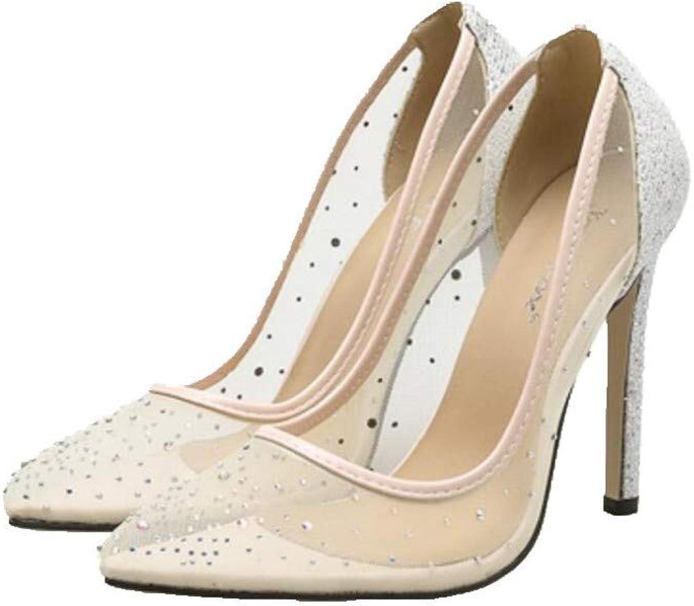 JQfashion Women's High Heel Pointed Stiletto Mesh Breathable Sandals Sexy Diamonds
