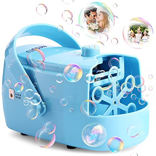 Bubble Machine, NESSTU Automatic Bubble Blower 4800+ Bubbles Per Minute, 400ml Bubble Maker for Kids Toddlers Party Powered by Plugin or Batteries, Outdoor Bubble Toys and Gifts for Girls and Boys