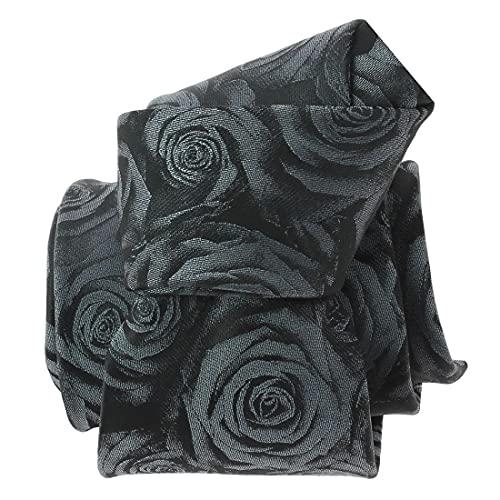 Clj Charles Le Jeune. Cravate. Roses, Microfibre. Gris, Paisley.