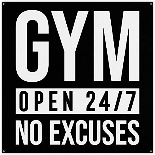 Gym Open 247 Banner - Home Gym Decor - Large Wall Art - Fitness Training - Garage Inspirational 60 x 60 Inches