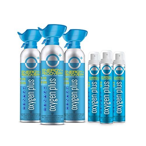 Oxygen Plus 99.5% Pure Recreational Oxygen Cans – O+ Sports Pack – 3 O+ Biggi and 3 O+ Skinni Oxygen Canisters – Energy & Recovery – FDA-Registered Facility Oxygen - Canned Oxygen for Sports, Workouts