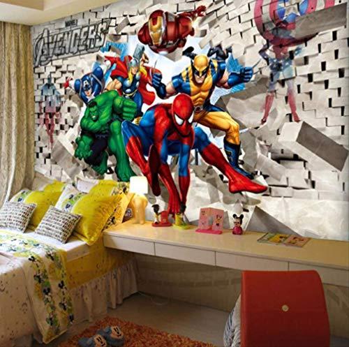 3d Photo Papier Peint 3d Dessin Animé Chambre D'enfants Papier Peint Avengers Chambre Fond Papier Peint Spiderman Largeur330cm * Hauteur210cm