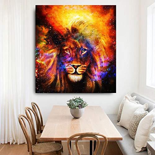 BailongXiao Cuadro En Lienzo Espacio cósmico león Pared decoración del hogar para Sala cartel84x112cmPintura sin Marco