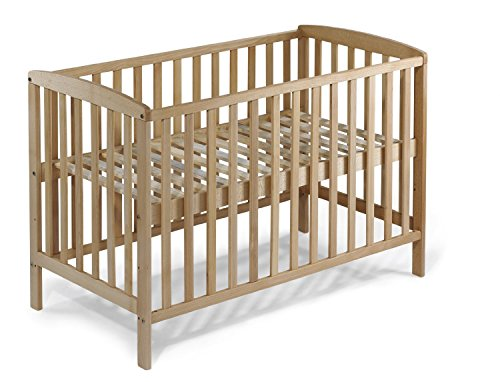 KOKO Babybett Gitterbett Kinderbett MAX 140x70 cm BUCHE naturbelassen