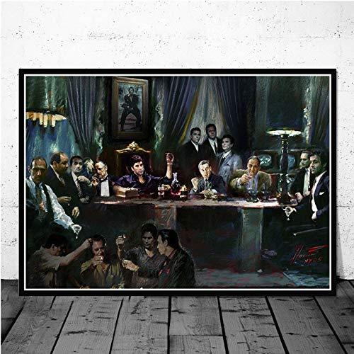 AL Pacino Scarface Gangster filmkunst affiche canvas schilderij muurschildering voor wooncultuur posters en afdrukken 50x60cm