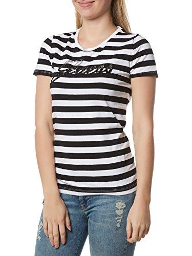 Guess SS RN Shiny Logo tee Camiseta, Schwarz (Black & White Stripes...