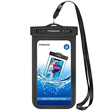 Universal Waterproof Phone Case, MoKo IPX 8 Waterproof Phone Pouch Dry Bag with Armband & Neck Strap for iPhone X/8 Plus/8/7/6S Plus, Samsung, BLU, MOTO - BLACK